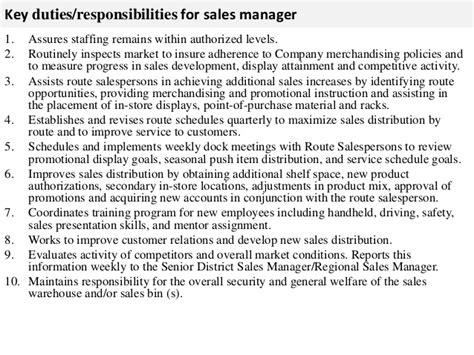 Sales Executive Responsibilities by Sales Manager Description