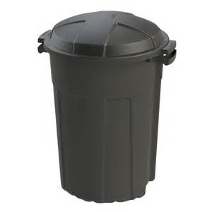 Patio Trash Cans Outdoor by Shop Blue Hawk 32 Gallon Black Outdoor Trash Can At Lowes Com