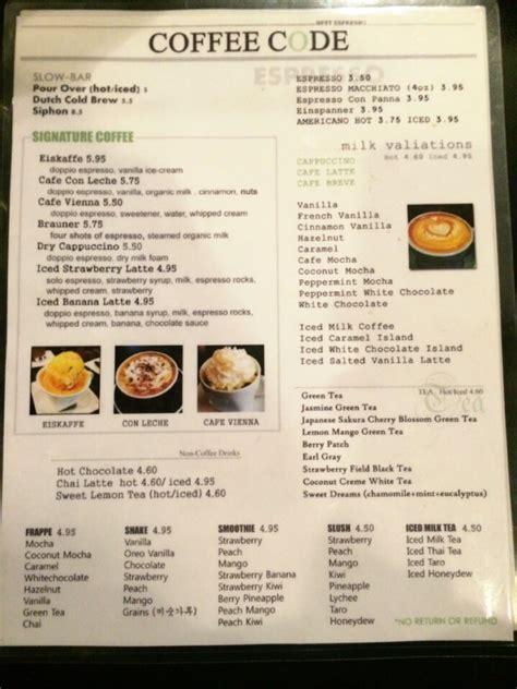 Coffee Code drink menu yelp