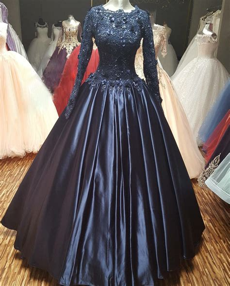 navy blue ball gown prom dress navy blue ball gown prom dress with long sleeves 2017