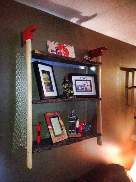 firefighter home decorations fire axe shelf shared by lion fire fighting