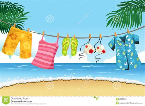 drying summer clothes stock vector illustration