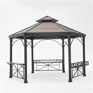 sunjoy selina 10 ft x 12 ft brown steel soft top gazebo