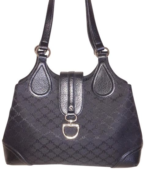 etienne aigner black monogram fabric shoulder bag tradesy