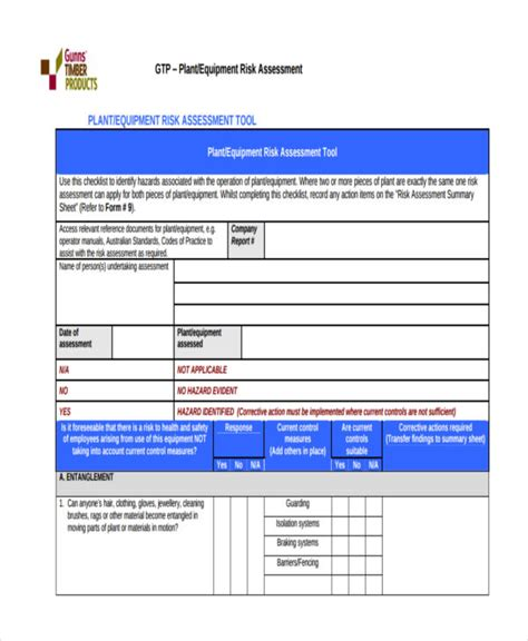 19 free risk assessment forms free premium templates