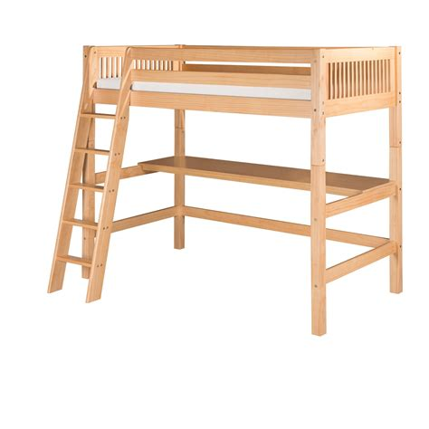 high loft bed with desk ikids high loft bed with mission headboard and desk