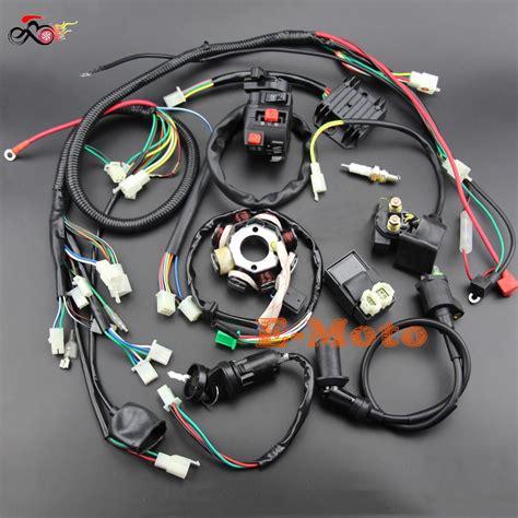 buggy wiring harness loom gy engine  cc quad atv electric start stator  coil spark plug