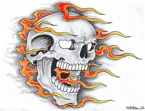 flaming skull tattoo designs skull and designs best designs