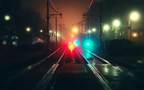 colorful night wallpaper vehicles trains rail roads tracks steel shine station