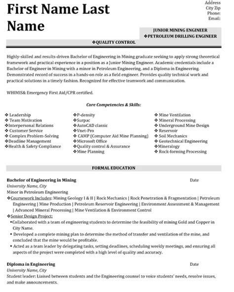 cv template quality control quality control engineer resume sle template
