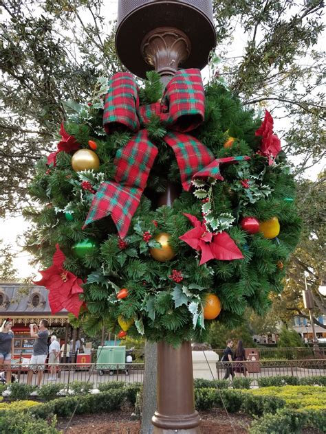 first look of the christmas decorations at the magic kingdom