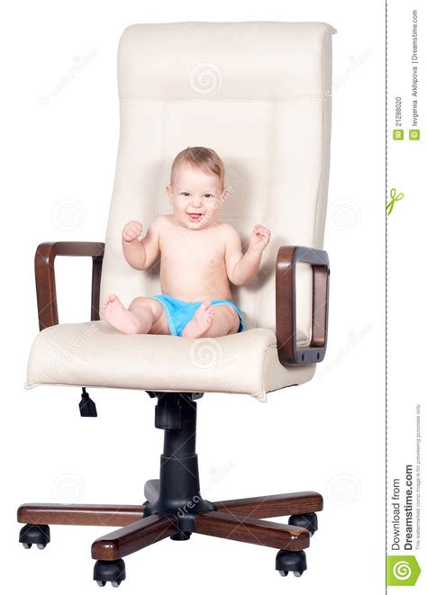 Baby On Chair by Baby Boy Sits In Office Chair On White Stock Photo Image