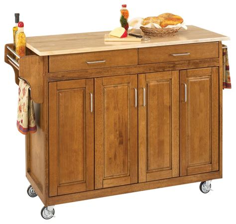 oak kitchen carts and islands home styles tiberius cuisine cart cottage oak wood top