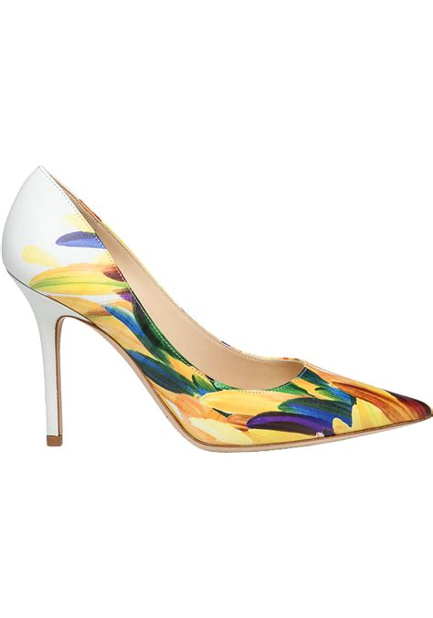 coloured patterned heels jimmy choo abel multi colored feather print leather pump