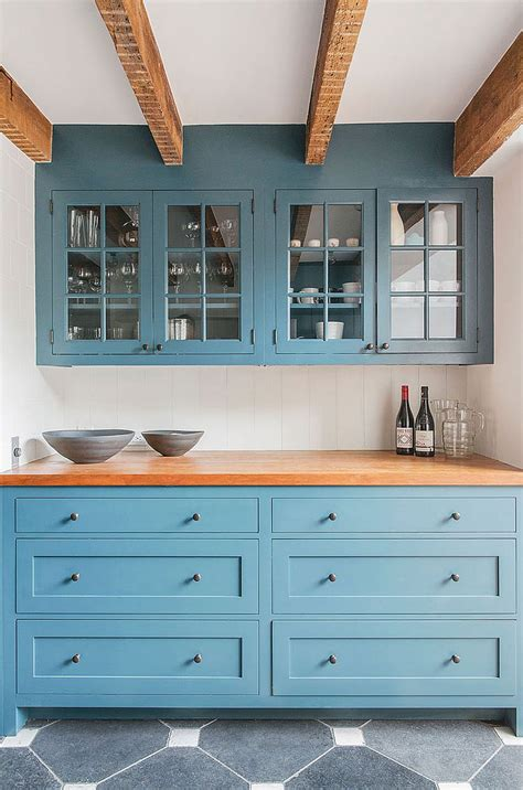 blue cabinets custom kitchen cabinets in blue and wooden worktop decoist