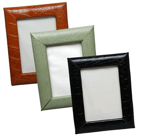 croco grain leather desk 5 x 7 picture frames