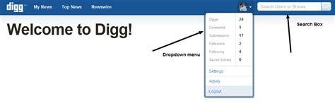 css top menu bar digg like top panel top bar search box drop down menu using css and jquery