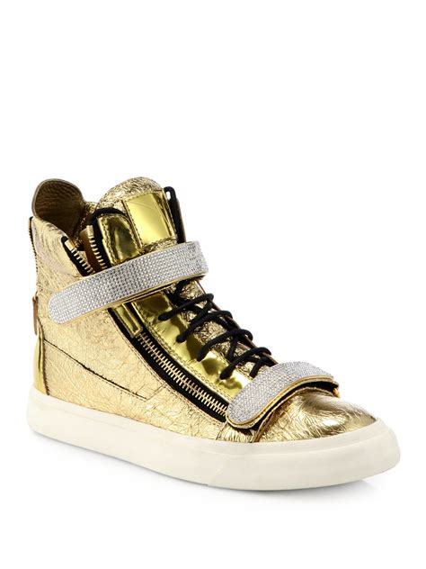 gold giuseppe sneakers giuseppe zanotti foiled leather hightop sneakers in gold