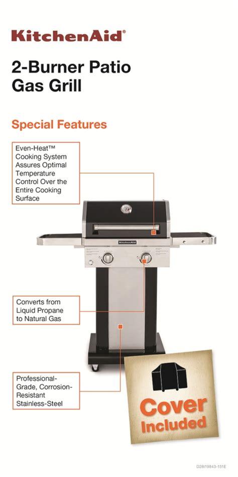 Kitchenaid Grill Warranty Kitchenaid 2 Burner Propane Gas Grill In Black With Grill