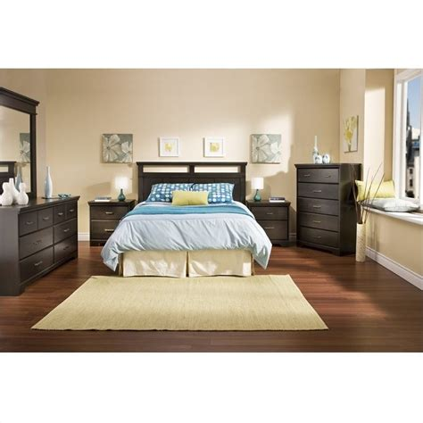 shore panel bedroom set south shore versa wood panel headboard 4 bedroom set in black 3177256 pkg4