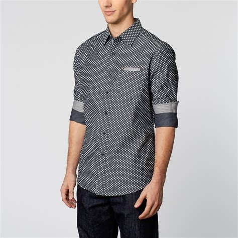 smash trends modern cargo navy woven patterned button up shirt navy s smash trends weekend wardrobe touch of modern