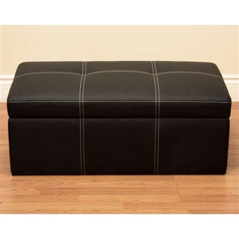black faux leather ottoman storage bench faux leather storage ottoman bench in black 2070009