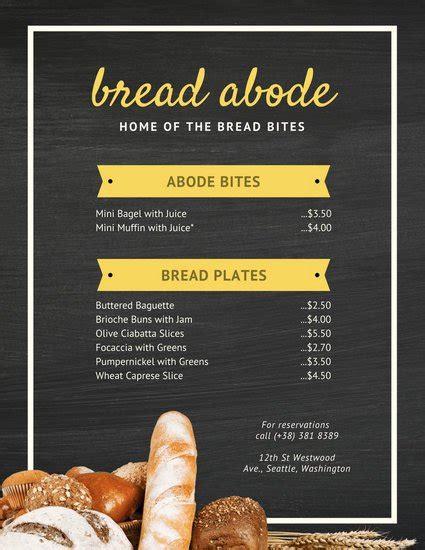 canva menu customize 35 bakery menu templates online canva