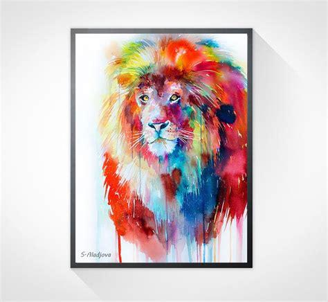 watercolor lion tutorial lion watercolor painting print by slaveika aladjova art