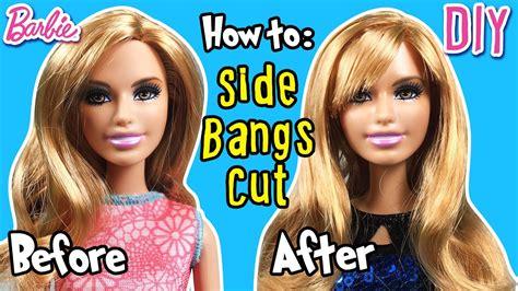 cut hairstyles for dolls how to cut side bangs using barbie doll hair diy barbie
