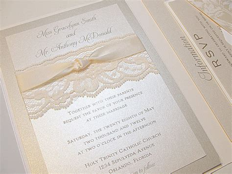 Wedding Invitations With Lace by Lace Wedding Invitations
