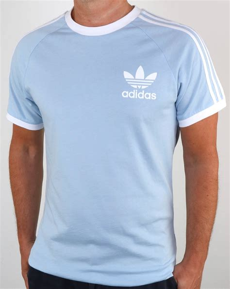 light blue adidas shirt adidas originals t shirt sky 3 stripe retro california