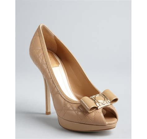 Shoes Of The Day Miss Beige Patent Peep Toe Pumps by Lyst Beige Cannage Leather Patent Bow Peep Toe