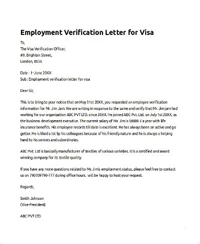 sle employee verification letter 10 exles in pdf