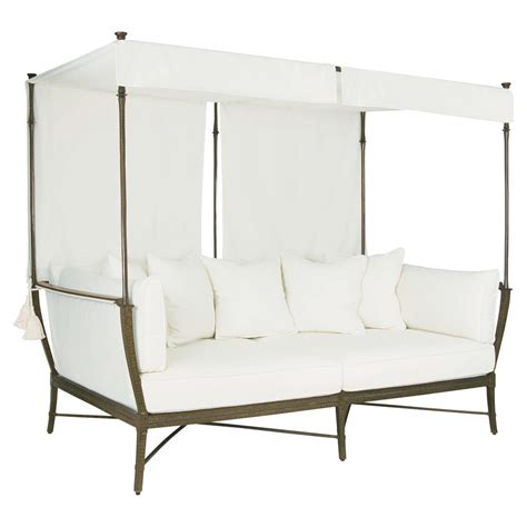 Chaise Daybed Jane Modern French White Canopy Metal Outdoor Daybed