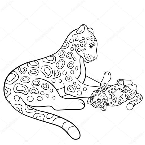 imagenes de jaguar para iluminar dibujos para colorear madre jaguar con su cachorro
