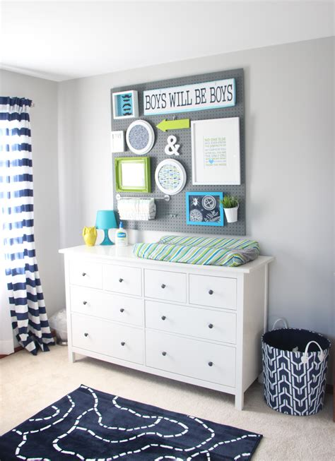 diy baby boy room ideas baby boy nursery diy pegboard gallery wall navy green gray this is our bliss