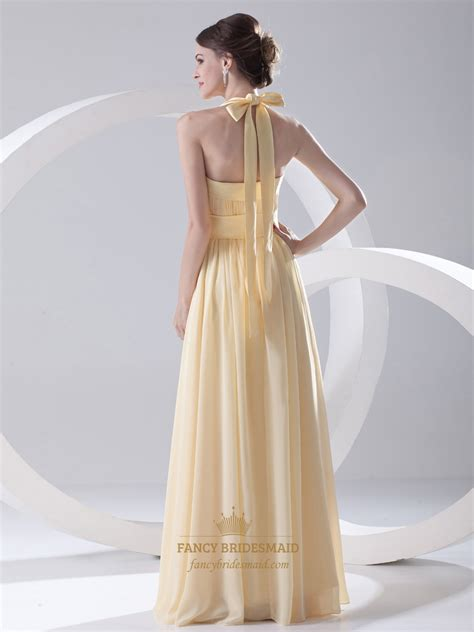 Light Yellow Bridesmaid Dresses by Pale Yellow Halter Neck Chiffon Bridesmaid Dress With