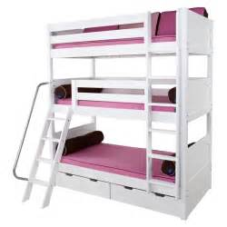 Maxtrix moly triple bunk bed in white with panel bed ends 850 main