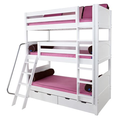 Maxtrix Moly Triple Bunk Bed In White With Panel Bed Ends White Bunk Bed