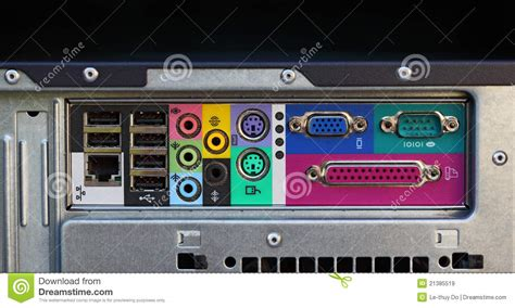 porte pc computer ports stock image image of line motherboard