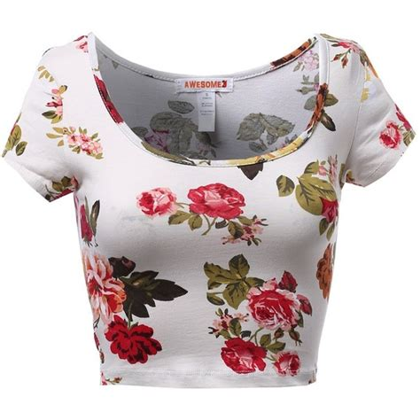 Top Crop Flower floral flower print scoop neck fitted sleeve crop