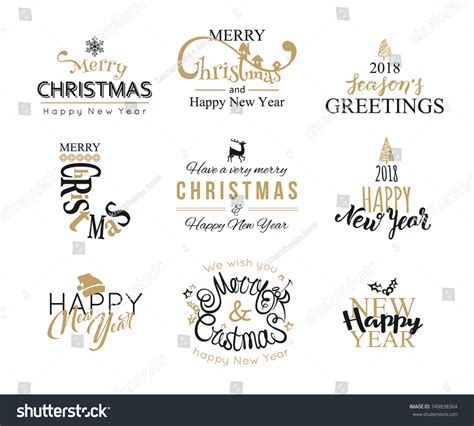 merry christmas happy  year lettering stock vector  shutterstock