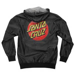 santa cruz dot hooded windbreaker jacket black pacifc wave surf shop