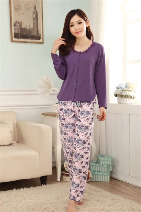 comfortable pajamas cotton silk satin wool night pajamas for ladies