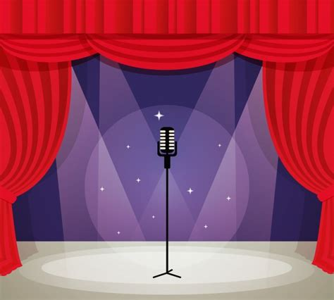 free stage background design vector stage with microphone in spotlight with red curtain