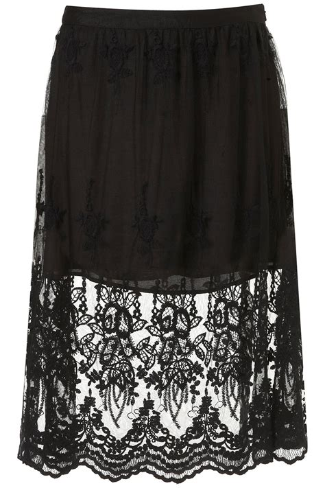Lace Up Cotton Skirt Mango topshop crochet midi skirt by glamorous in black lyst
