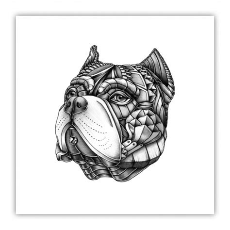ornate american bully wood print psydrian artists