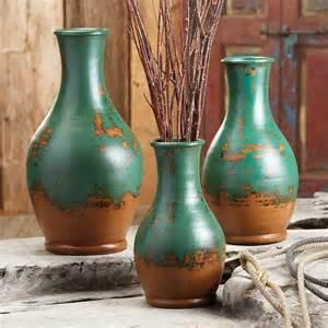 Teardrop Vases Turquoise Teardrop Pottery Vases Set Of 3