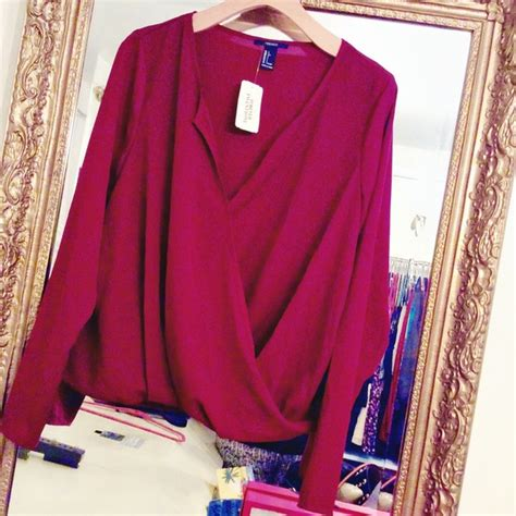 63 forever 21 tops wine colored faux wrap