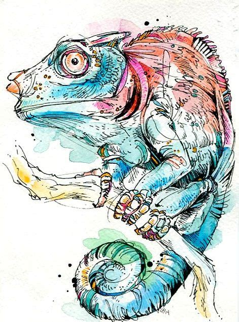 tattoo pen watercolor chameleon india ink watercolor and tombow markers